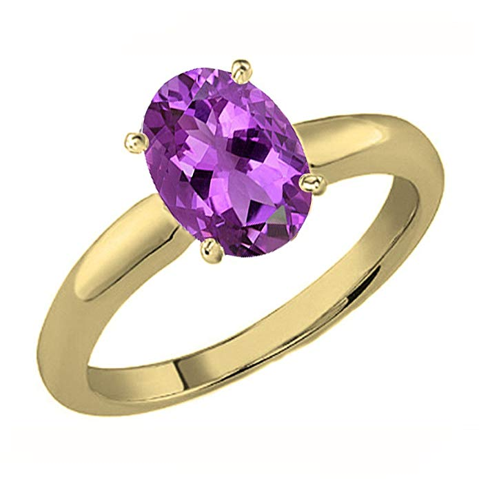 Dazzlingrock Collection 10K Gold 8X6 MM Oval Cut Amethyst Ladies Solitaire Bridal Engagement Ring