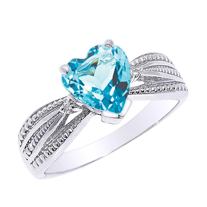 Solid 14k White Gold Blue Topaz and Diamond Proposal Ring