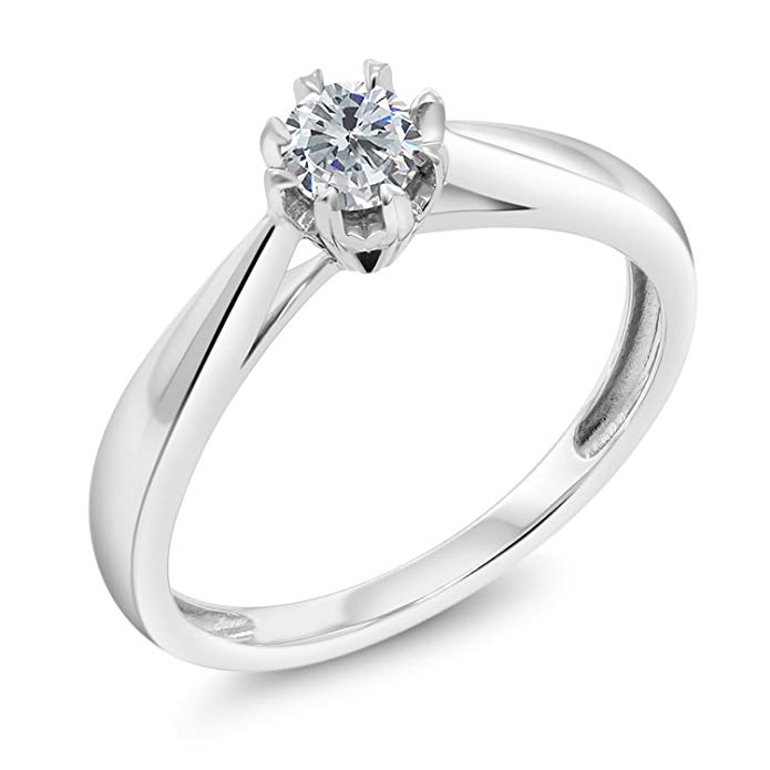 18K White Gold Round Diamond Solitaire Engagement Ring 0.15 cttw G/H Color (Available 5,6,7,8,9)