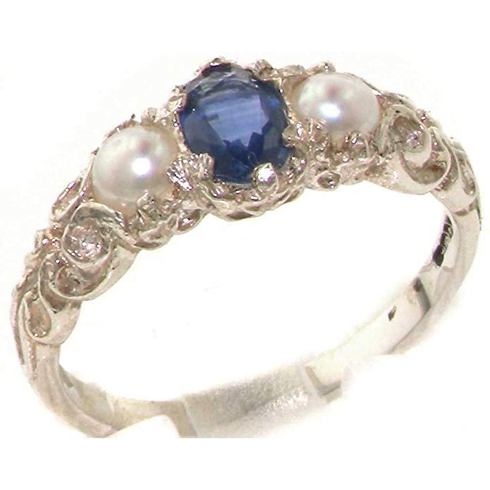LetsBuyGold 10k White Gold Real Genuine Sapphire and Cultured Pearl Womens Band Ring