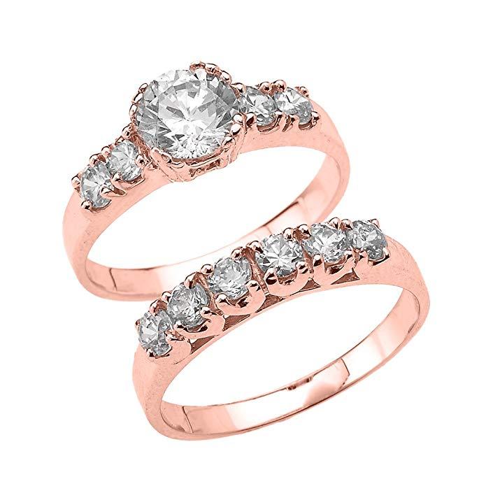 3.5 Carat Total Weight Round Cut CZ Engagement Wedding Ring Set in 10k Rose Gold