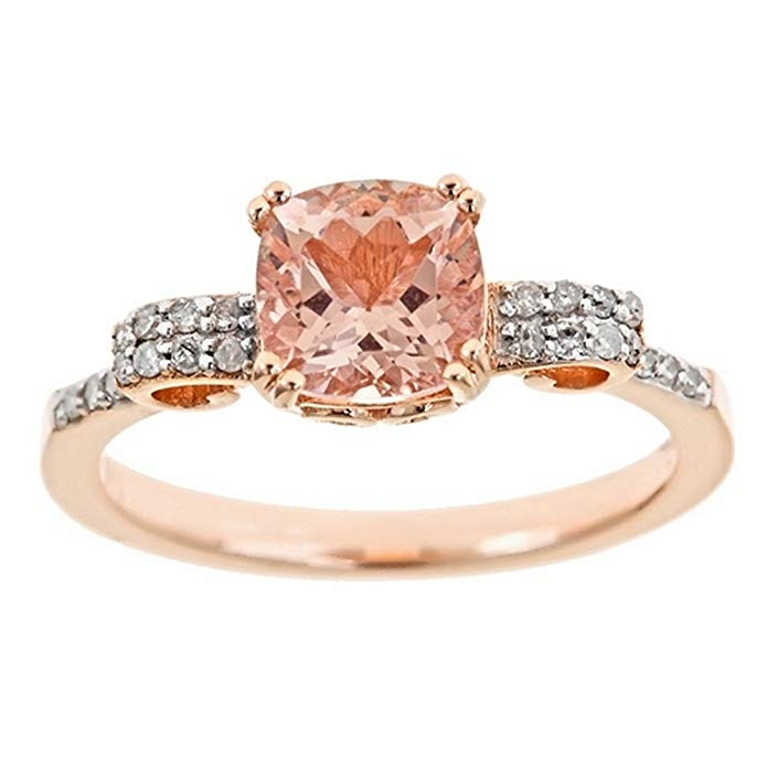1.37 Carat Cushion Cut Morganite & Diamond Engagement Ring 7mm Rose Gold Plated Sterling Silver