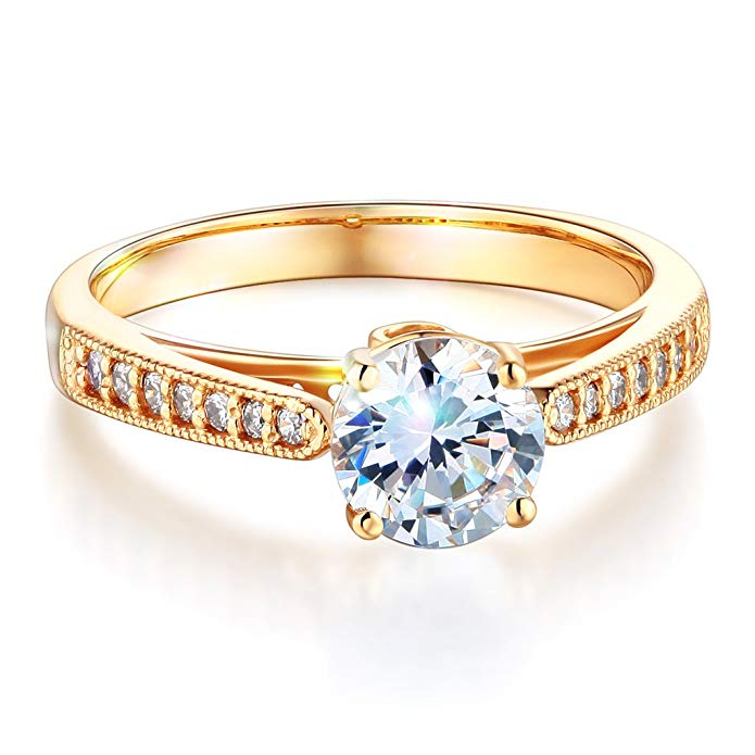 Wellingsale Ladies Solid 14k Yellow -OR- White Gold Polished CZ Cubic Zirconia Round Cut Engagement Ring with Side Stones