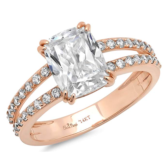 4.45 CT Cushion brilliant Cut Simulated Diamond CZ Solitaire Engagement ring 14K Rose Gold Bridal Jewelry