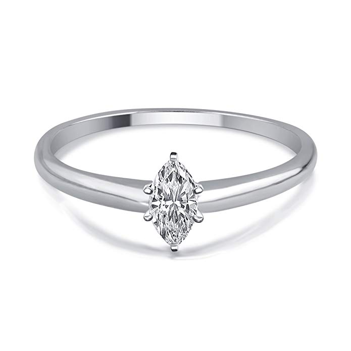 1/4 Cttw Marquise Diamond Solitaire Ring in 14K White Gold