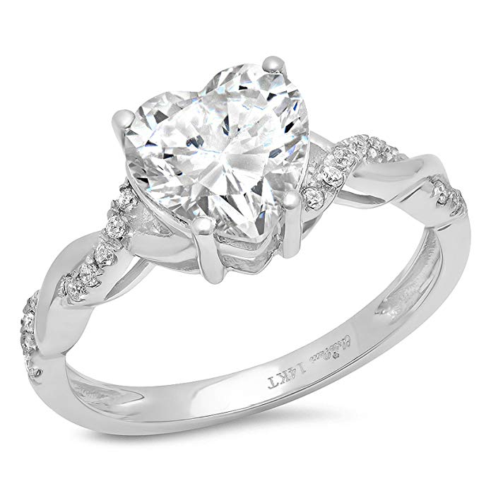 Clara Pucci 2.09 CT Heart Cut Criss Cross anniversary Promise Twisted Wedding Engagement Bridal Ring Band 14k White