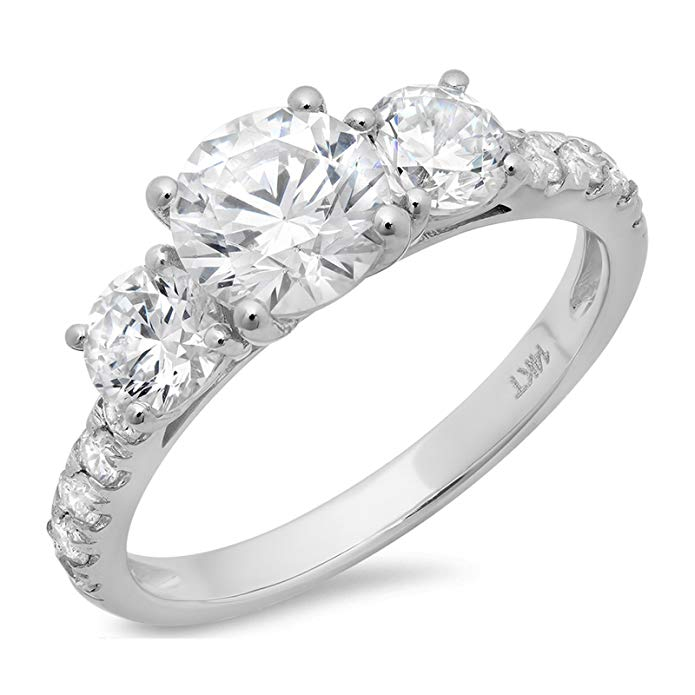 2.0CT Round Cut Simulated Diamond CZ Pave Three Stone Accent Bridal Engagement Wedding Band Ring 14K White Gold