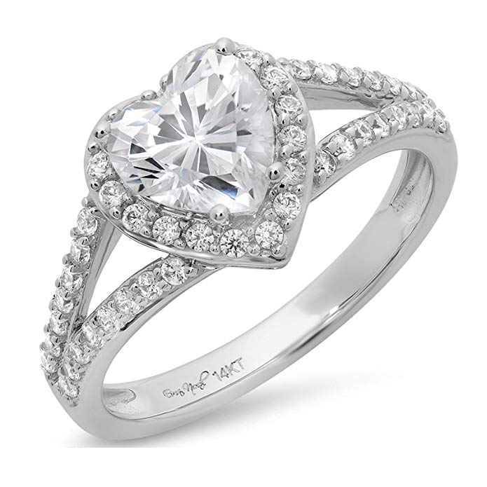 1.75 CT Heart Cut Simulated Diamond CZ Pave Solitaire Bridal Engagement Wedding Band Ring 14k White Gold