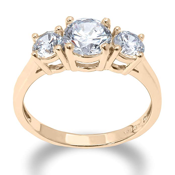 Ioka - 2 Cttw. 3 Round Stone Cubic Zirconia CZ 2.5MM Engagement Ring Solid 14K Yellow OR White Gold Band