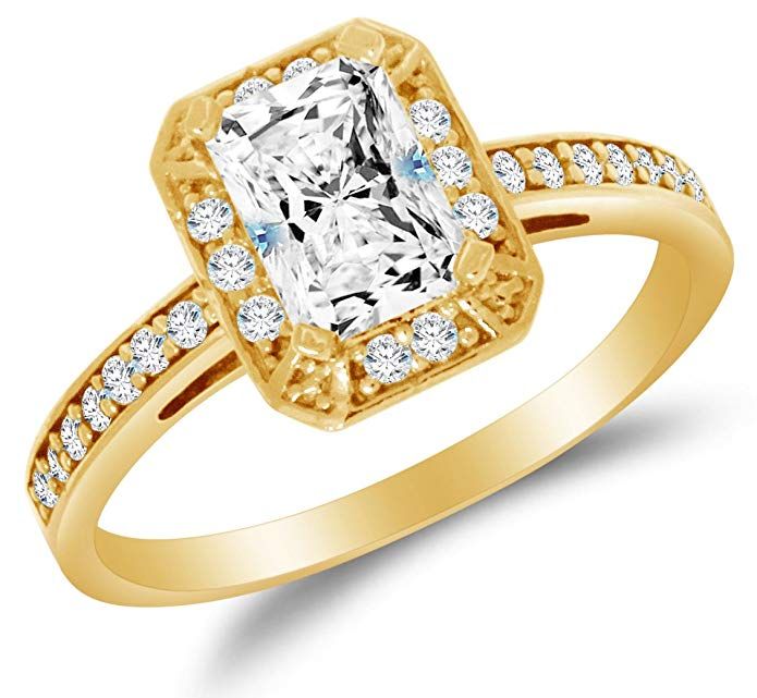 Solid 14k Yellow Gold Highest Quality CZ Cubic Zirconia Halo Engagement Ring - Emerald-Cut / Shape Solitaire with Round Side Stones (1.25cttw., 1.0ct. Center)