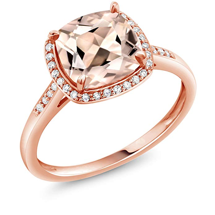 10K Rose Gold Ring Peach Morganite and Diamond Accent Women's engagement Ring 1.88 Ct Cushion cut (Available 5,6,7,8,9)