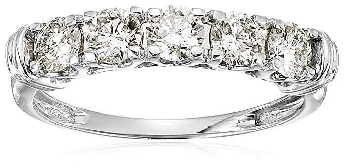 1 cttw AGS Certified SI2-I1 5-Stone Diamond Ring in 14K White Gold