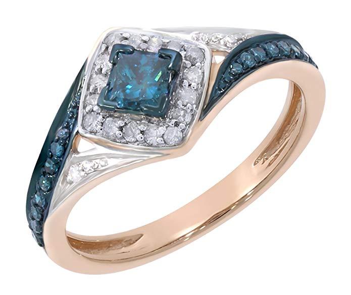 Prism Jewel 0.50Ct Princess & Round Shaped Blue Diamond & Diamond Engagement Ring