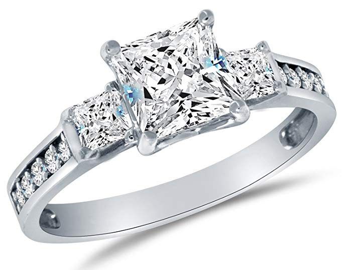 Solid 14k White Gold CZ Cubic Zirconia 3 Three Stone Engagement Ring - Princess Cut Solitaire with Round Side Stones (1.75cttw, 1.5ct. Center)