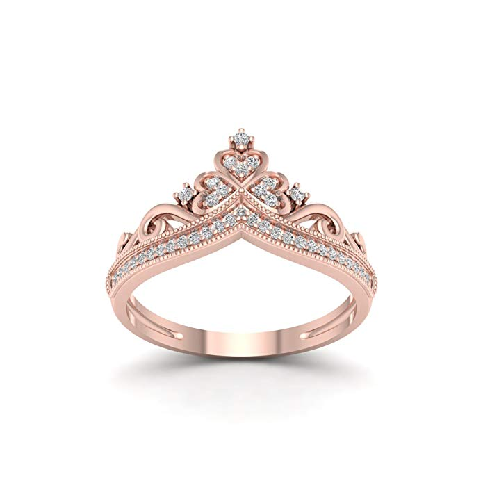 10k Rose Gold 1/8ct TDW Diamond Crown Shape Fashion Ring (I-J, I2)