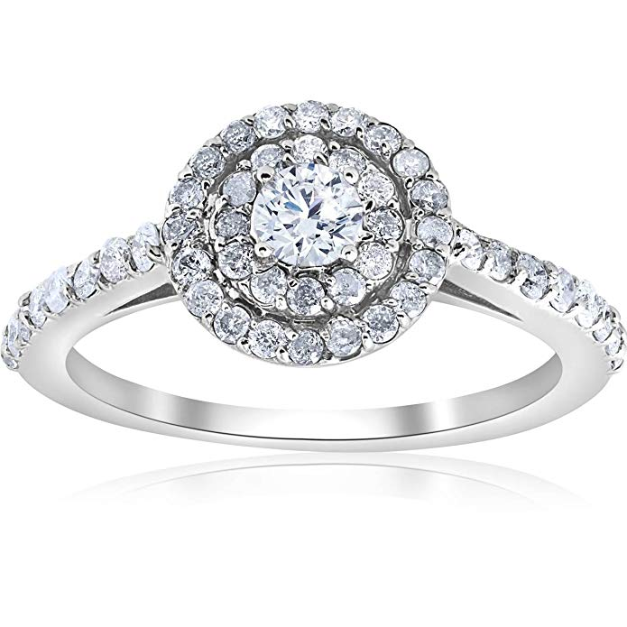 3/4ct Double Halo Round Diamond Engagement Ring 10K White Gold