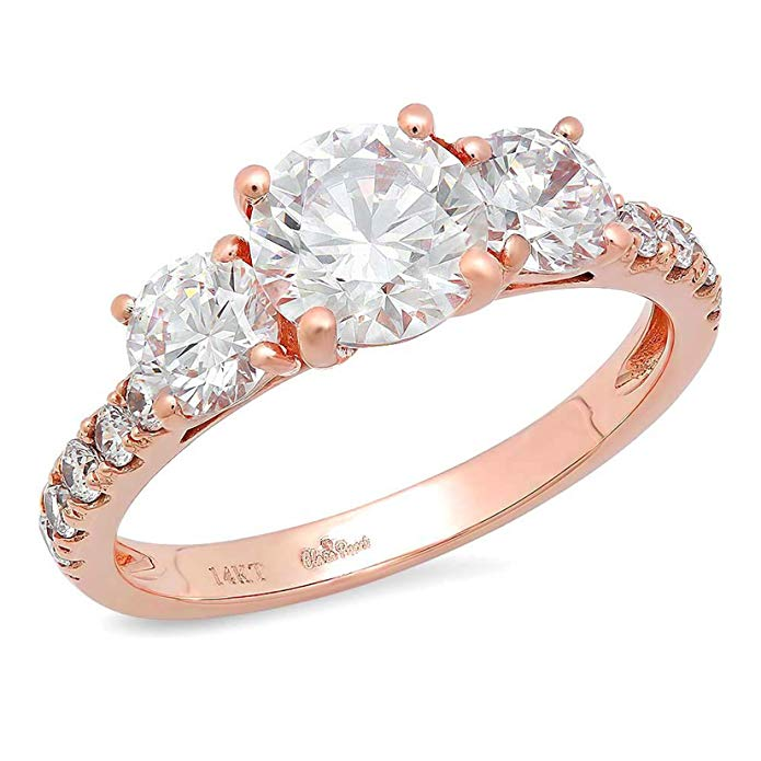 2.2 Ct Round Cut Pave Three Stone Promise Accent Bridal Engagement Wedding Anniversary Band Ring 14K Rose Gold, Clara Pucci