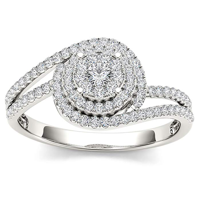 De Couer IGI Certified 10k White Gold 1/3ct TDW Diamond Bypass Halo Cluster Engagement Ring(I-J, I2)