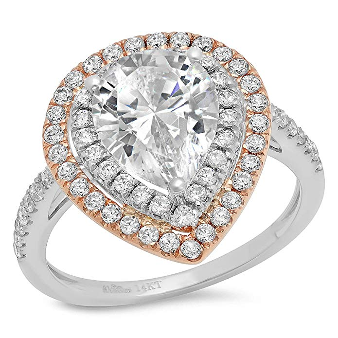 2.93 CT Designer Pear Cut CZ Modern Pave Double Halo Ring Band White Rose 14k Gold