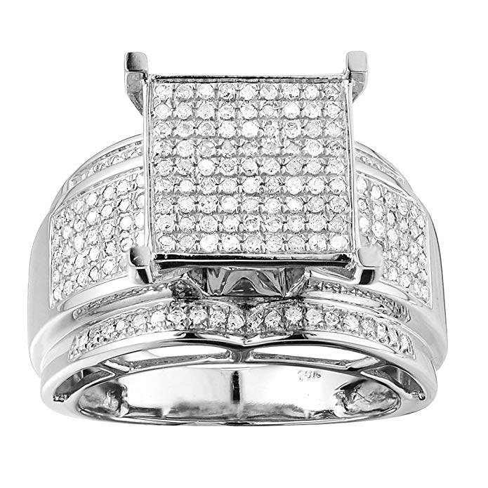 0.28 Carat (ctw) Sterling Silver Round White Diamond Womens Micro Pave Engagement Ring 1/3 CT