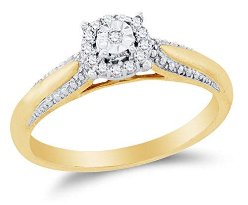 10K Yellow Two Tone Gold Round Diamond Halo Circle Engagement Ring - Prong Set Solitaire Center Setting Shape (1/10 cttw.)