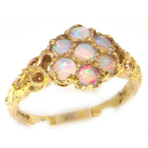 LetsBuyGold 14k Yellow Gold Real Genuine Opal Womens Band Ring