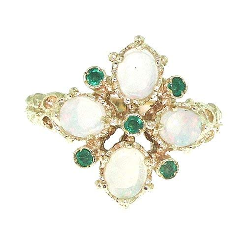 LetsBuyGold 14k Yellow Gold Real Genuine Emerald and Opal Womens Band Ring
