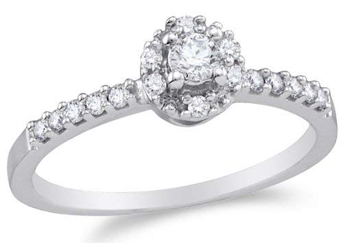 10K White Gold Diamond Halo Engagement Ring - Solitaire Setting w/ Channel Set Round Diamonds - (1/4 cttw)