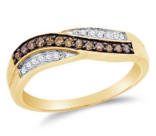 Sonia Jewels 10K Yellow Gold Chocolate Brown & White Round Diamond Cross Over Fashion Ring - Channel Setting (1/4 cttw.)