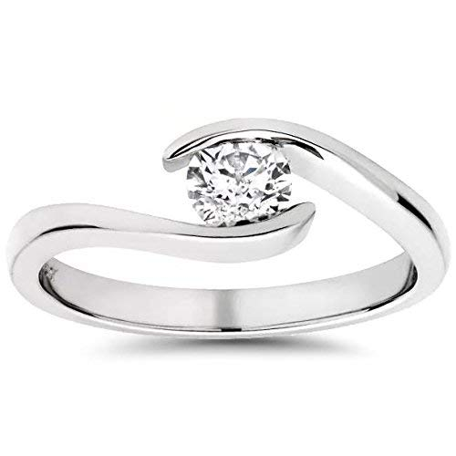 1/3ct Round Diamond Solitaire Modern Engagement Ring 14K White Gold