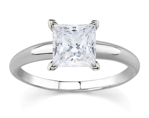3/8 Carat Princess Diamond Solitaire Ring in 14K White Gold