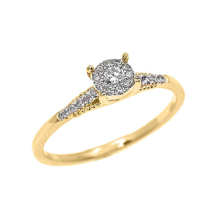 Dainty 10k Yellow Gold Halo Diamond Elegant Solitaire Engagement Proposal Ring