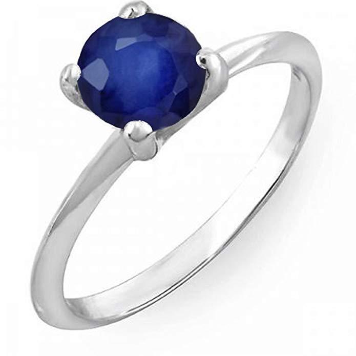 Dazzlingrock Collection 1.00 Carat (ctw) 18K White Gold Round Blue Sapphire Ladies Bridal Engagement Solitaire Ring 1 CT