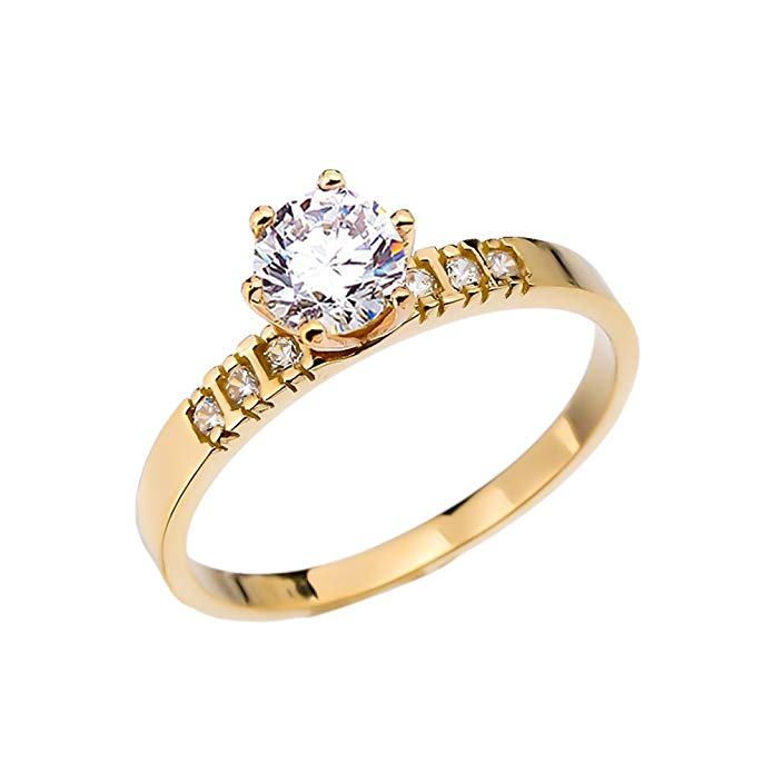 Diamond 14k Yellow Gold Solitaire Engagement Ring With 1 Carat White Topaz Centerstone