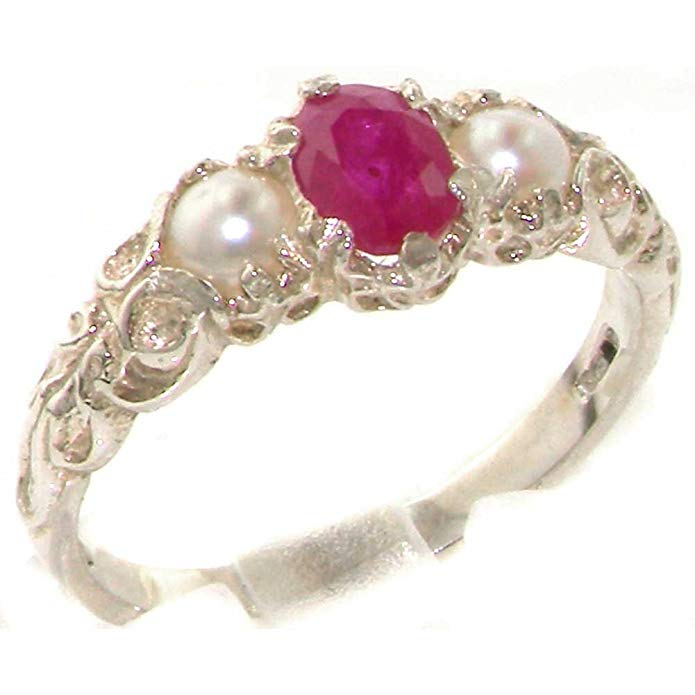 LetsBuyGold 10k White Gold Real Genuine Ruby and Cultured Pearl Womens Band Ring