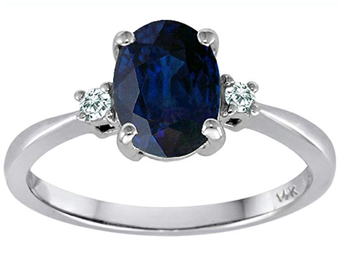 Tommaso Design 8x6mm Oval Genuine Sapphire Engagement Ring 14kt Gold