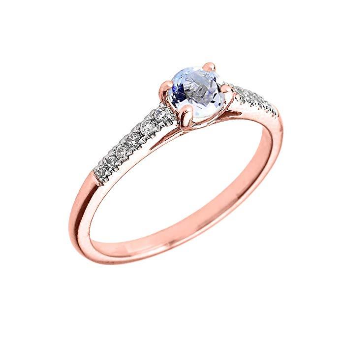 14K Rose Gold Diamond and Genuine Aquamarine Engagement Proposal Ring