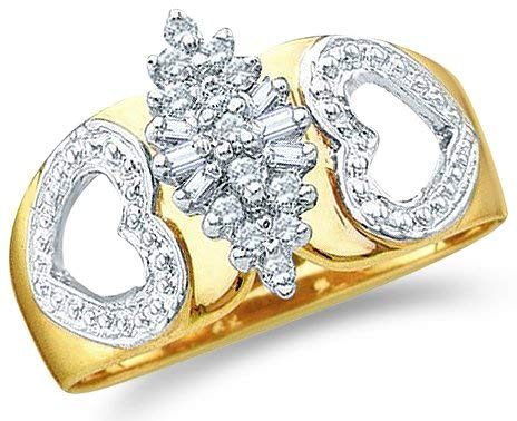 10k Yellow and White Two 2 Tone Gold Marquise Shape Heart Love Round Cut & Baguette Diamond Engagement Ring (.15 cttw)