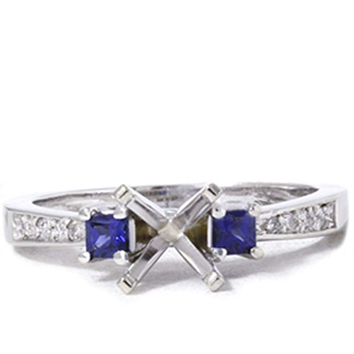 3/8ct Princess Sapphire & Diamond Engagement Ring Setting 14K