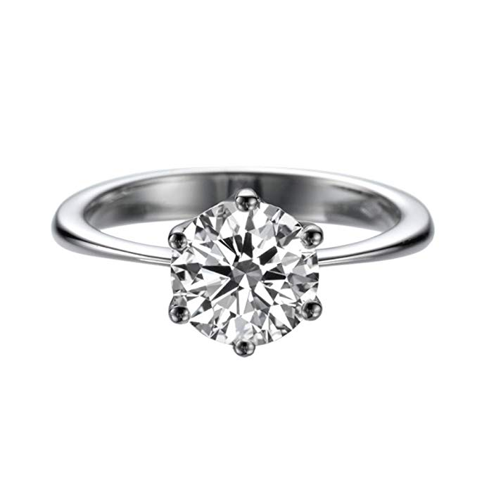 1.50ct Lab Created White Sapphire Engagement Ring 14K Solid Gold 6 prongs Round