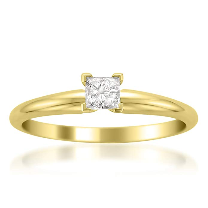 14k Yellow Gold Princess-cut Solitaire Diamond Engagement Wedding Ring (1/4 cttw, I-J, I2)