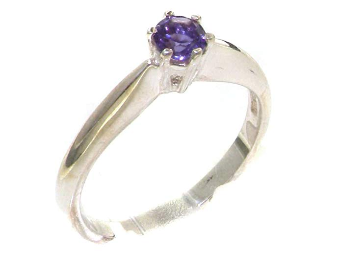 LetsBuyGold 10k White Gold Real Genuine Amethyst Womens Solitaire Engagement Ring
