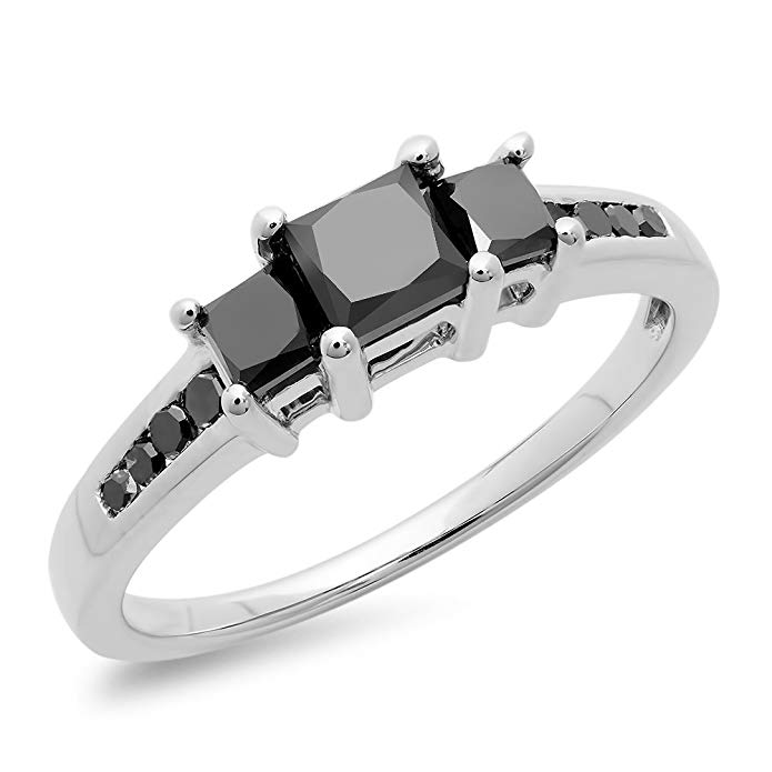 1.25 Carat (ctw) Sterling Silver Princess & Round Black Diamond Bridal 3 Stone Engagement Ring 1 1/4 CT