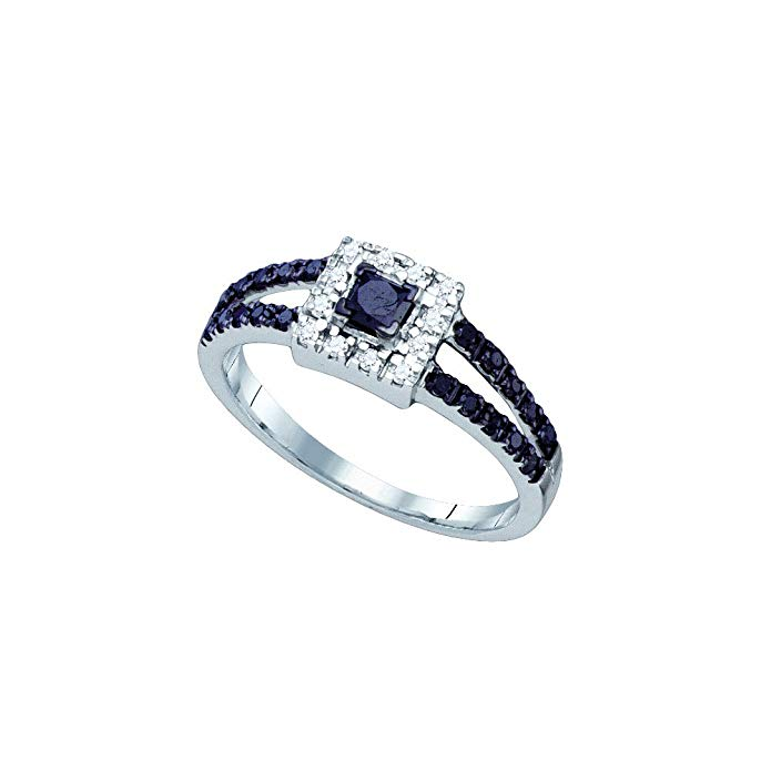 10K White Gold Halo Prong Set Princess and Round Cut Black and White Diamond Engagement Ring OR Fashion Band - Classic Traditional Solitaire Shape Center Setting - (.58 cttw.)