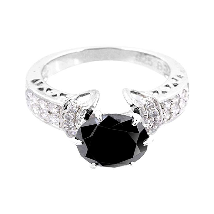 skyjewels 3ct Certified AAA Quality Black Diamond Solitaire Engagement Ring, Wedding Ring With VVS! White Diamonds