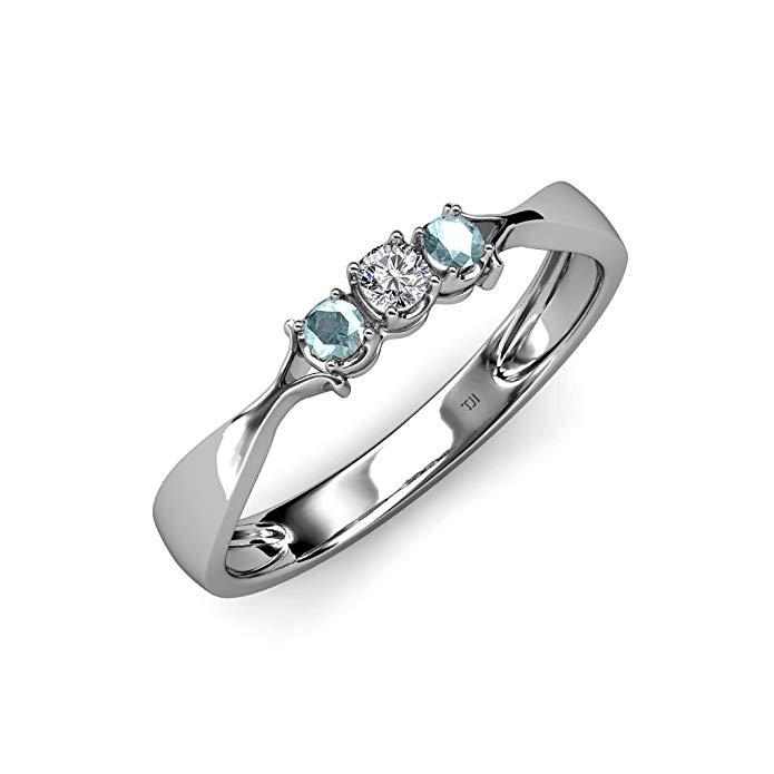 Aquamarine and Diamond (SI2-I1, G-H) Three Stone Ring 0.17 ct tw in 14K White Gold