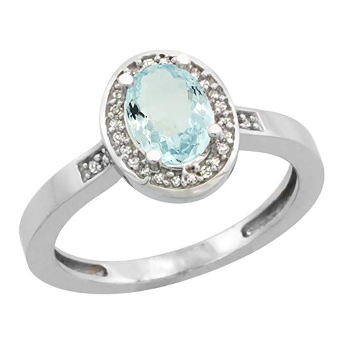 10K White Gold Diamond Natural Aquamarine Engagement Ring Oval 7x5mm, sizes 5-10