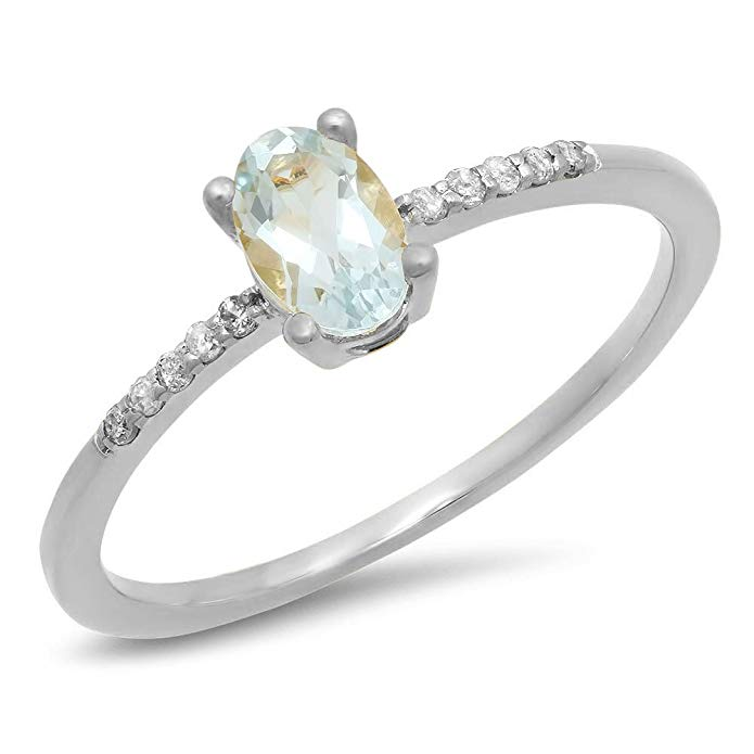 Dazzlingrock Collection 10K Gold Oval Cut Aquamarine & Round Cut White Diamond Ladies Bridal Engagement Promise Ring
