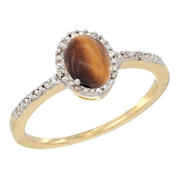 10K White Gold Diamond Natural Tiger Eye Engagement Ring Oval 7x5 mm, sizes 5 - 10