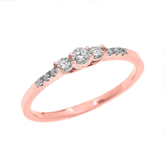 Dainty 14k Rose Gold Diamond Engagement Proposal Promise Ring